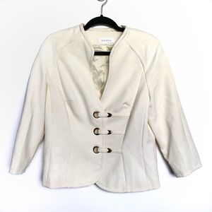Escada Cream Tie 100% Wool Blazer